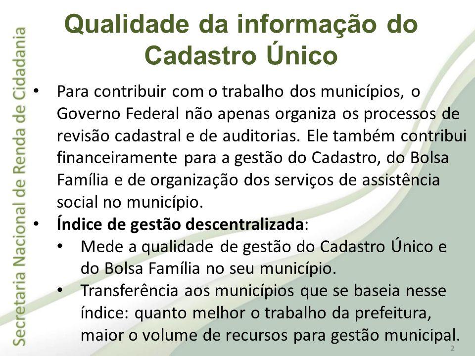 Para contribuir com o trabalho dos municípios, o Governo Federal não apenas organiza os processos de revisão cadastral e de auditorias. Ele também con