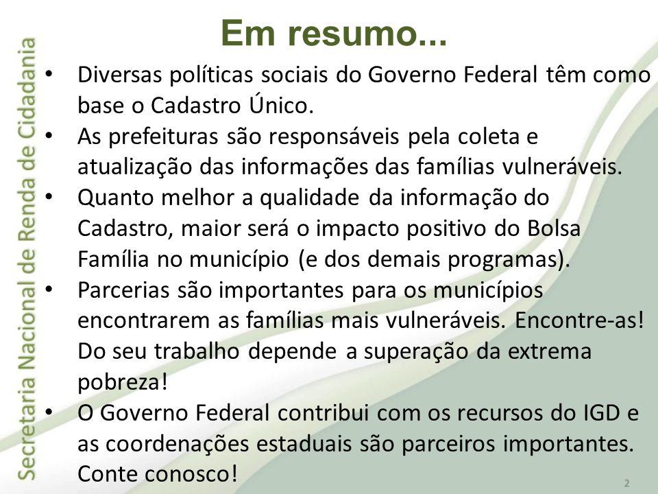 Diversas políticas sociais do Governo Federal têm como base o Cadastro Único. As prefeituras são responsáveis pela coleta e atualização das informaçõe