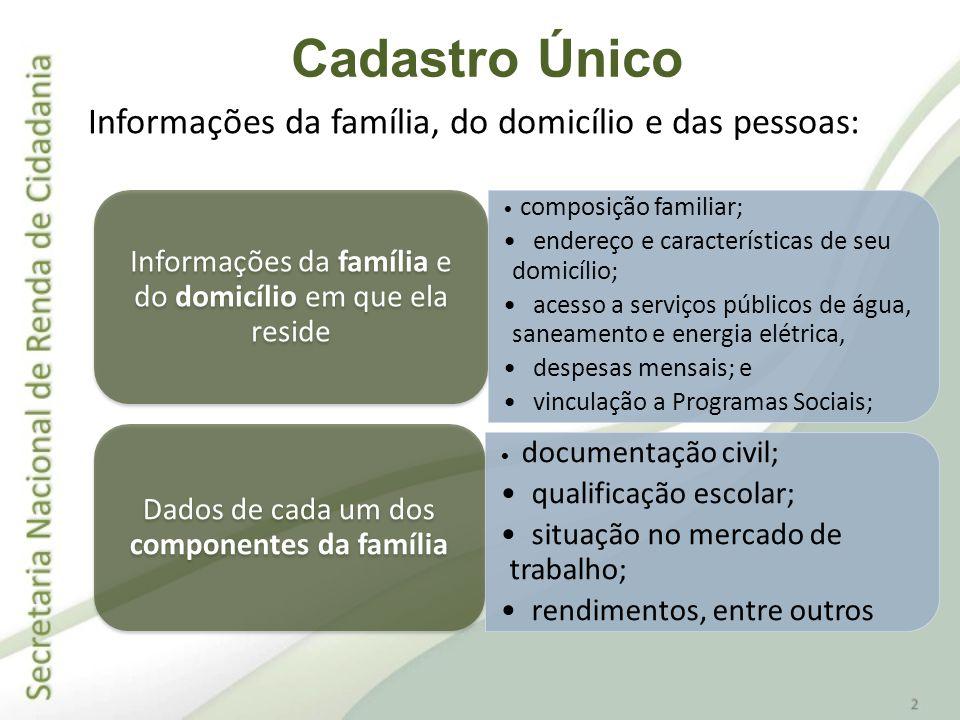 Informações da família, do domicílio e das pessoas: composição familiar; endereço e características de seu domicílio; acesso a serviços públicos de ág