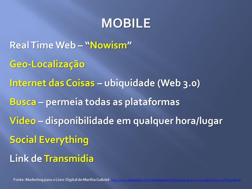 """MOBILE Real Time Web – """"Nowism"""" Geo-Localização Internet das Coisas – ubiquidade (Web 3.0) Busca – permeia todas as plataformas Video – disponibilidad"""