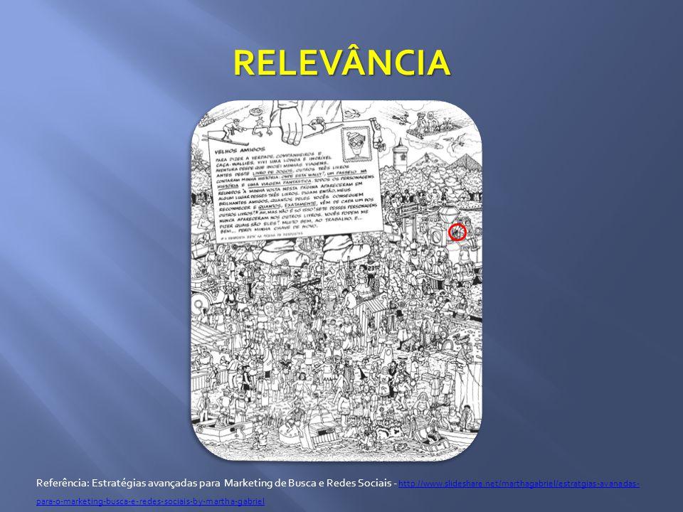 RELEVÂNCIA Referência: Estratégias avançadas para Marketing de Busca e Redes Sociais - http://www.slideshare.net/marthagabriel/estratgias-avanadas- para-o-marketing-busca-e-redes-sociais-by-martha-gabriel http://www.slideshare.net/marthagabriel/estratgias-avanadas- para-o-marketing-busca-e-redes-sociais-by-martha-gabriel