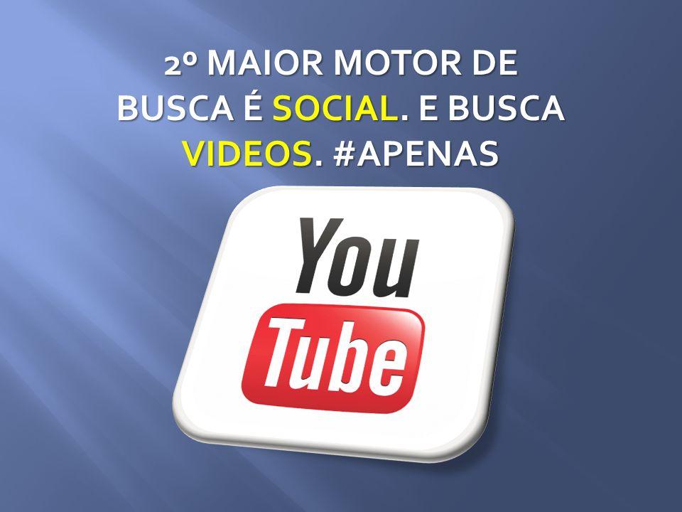 2º MAIOR MOTOR DE BUSCA É SOCIAL. E BUSCA VIDEOS. #APENAS