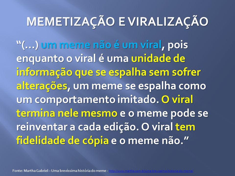 MEMETIZAÇÃO E VIRALIZAÇÃO (...) um meme não é um viral, pois enquanto o viral é uma unidade de informação que se espalha sem sofrer alterações, um meme se espalha como um comportamento imitado.