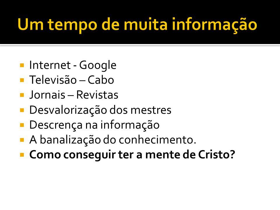  Internet - Google  Televisão – Cabo  Jornais – Revistas  Desvalorização dos mestres  Descrença na informação  A banalização do conhecimento. 