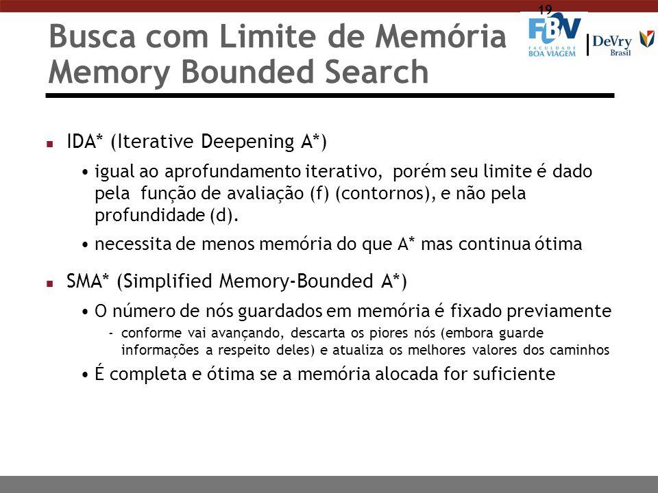 19 Busca com Limite de Memória Memory Bounded Search n IDA* (Iterative Deepening A*) igual ao aprofundamento iterativo, porém seu limite é dado pela f