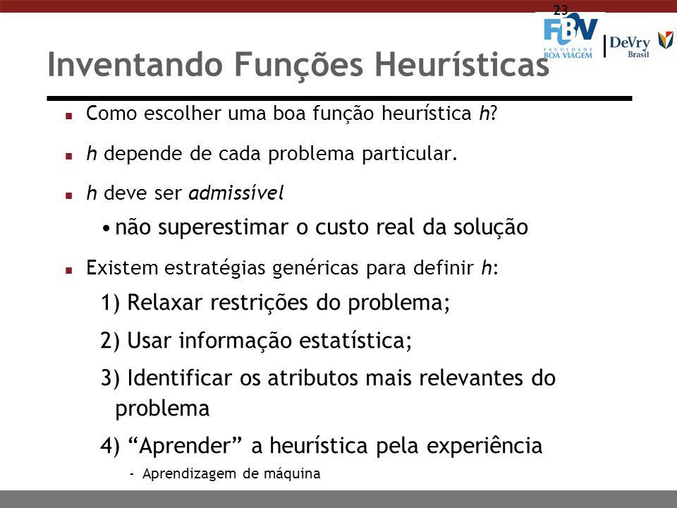 23 Inventando Funções Heurísticas n Como escolher uma boa função heurística h? n h depende de cada problema particular. n h deve ser admissível não su