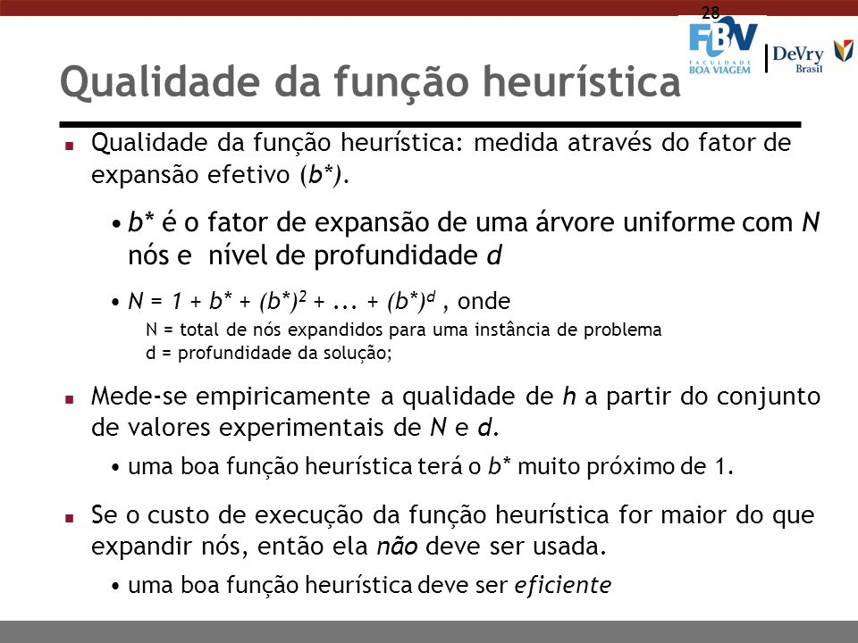 28 Qualidade da função heurística n Qualidade da função heurística: medida através do fator de expansão efetivo (b*). b* é o fator de expansão de uma