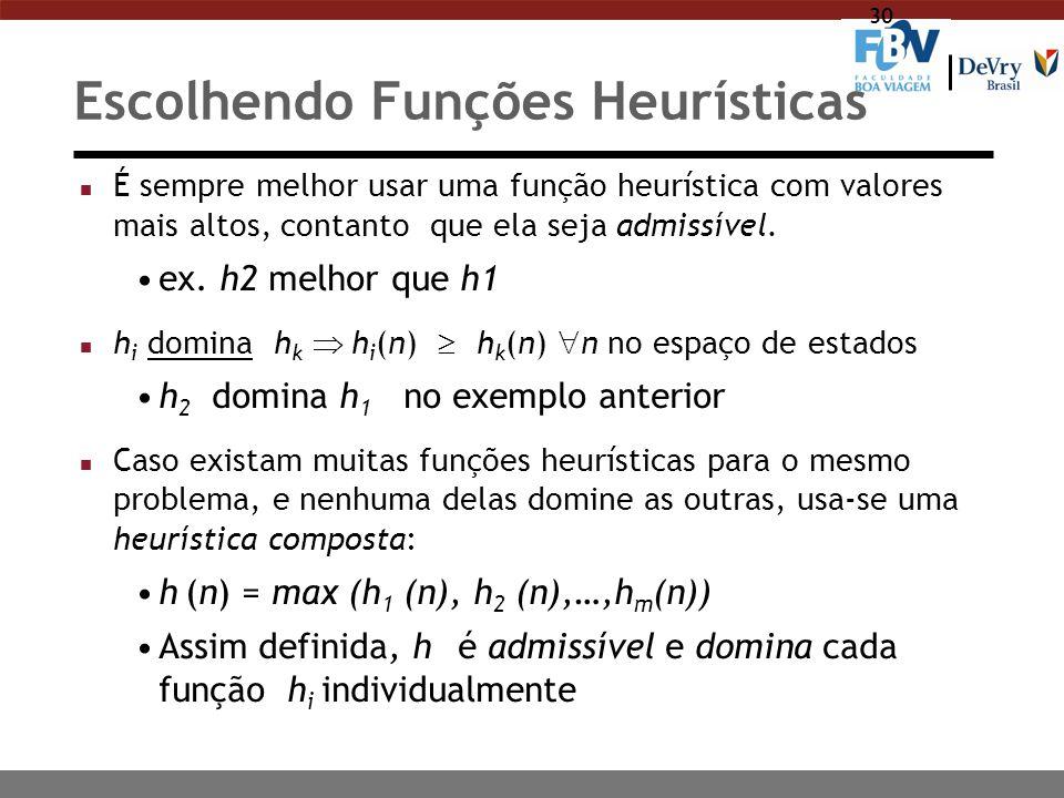 30 Escolhendo Funções Heurísticas n É sempre melhor usar uma função heurística com valores mais altos, contanto que ela seja admissível. ex. h2 melhor