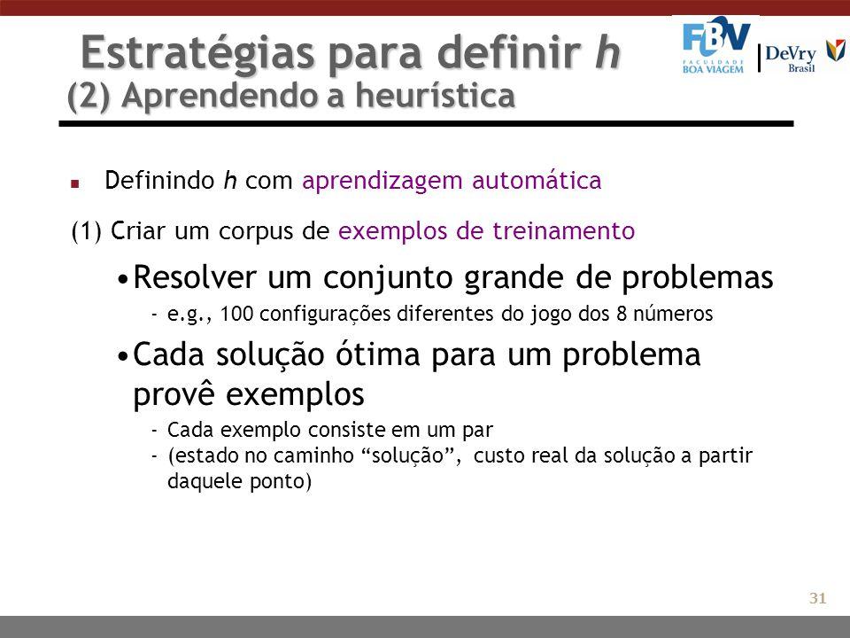 Estratégias para definir h (2) Aprendendo a heurística Estratégias para definir h (2) Aprendendo a heurística n Definindo h com aprendizagem automátic