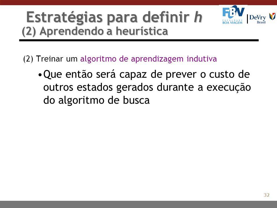Estratégias para definir h (2) Aprendendo a heurística Estratégias para definir h (2) Aprendendo a heurística (2) Treinar um algoritmo de aprendizagem