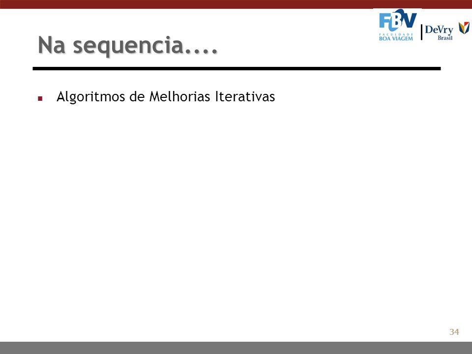Na sequencia.... n Algoritmos de Melhorias Iterativas 34