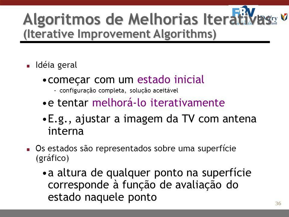 Algoritmos de Melhorias Iterativas (Iterative Improvement Algorithms) n Idéia geral começar com um estado inicial -configuração completa, solução acei