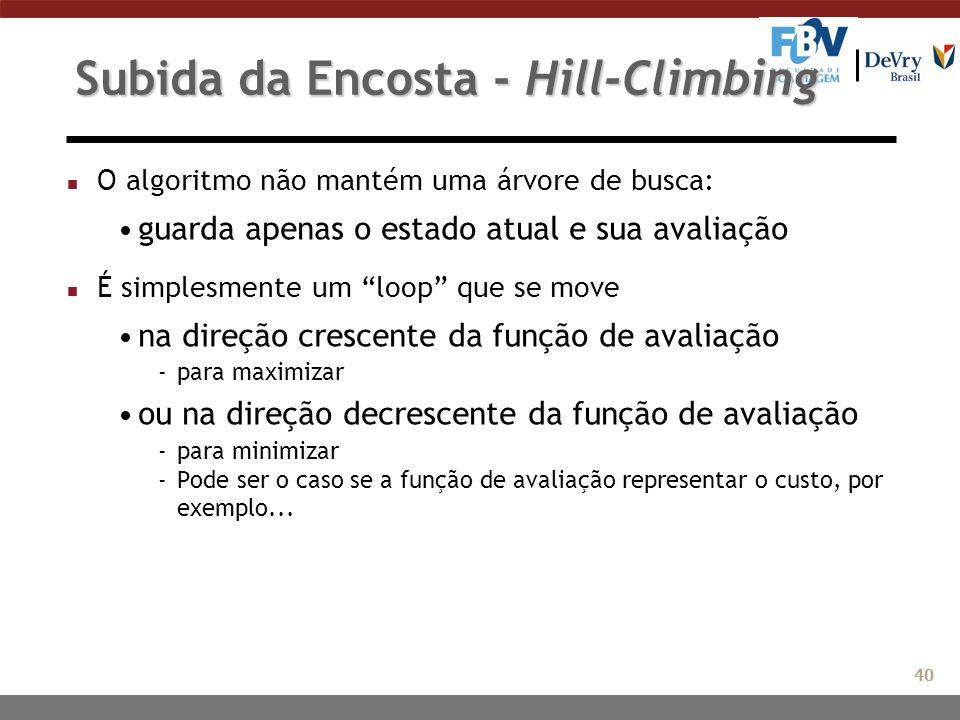 """Subida da Encosta - Hill-Climbing n O algoritmo não mantém uma árvore de busca: guarda apenas o estado atual e sua avaliação n É simplesmente um """"loop"""