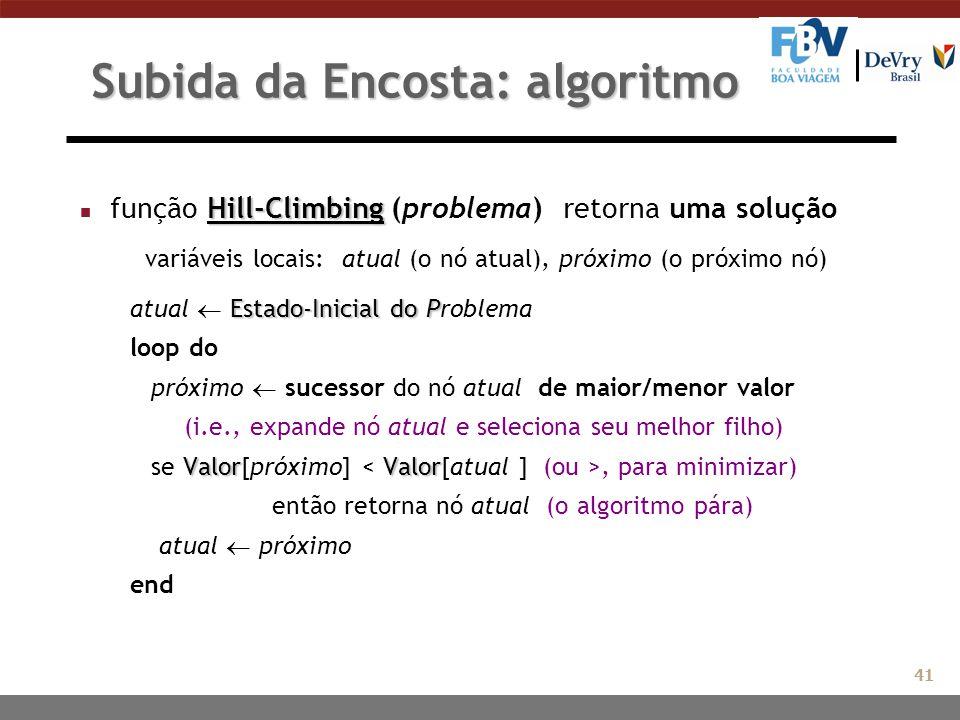 Subida da Encosta: algoritmo Hill-Climbing n função Hill-Climbing (problema) retorna uma solução variáveis locais: atual (o nó atual), próximo (o próx