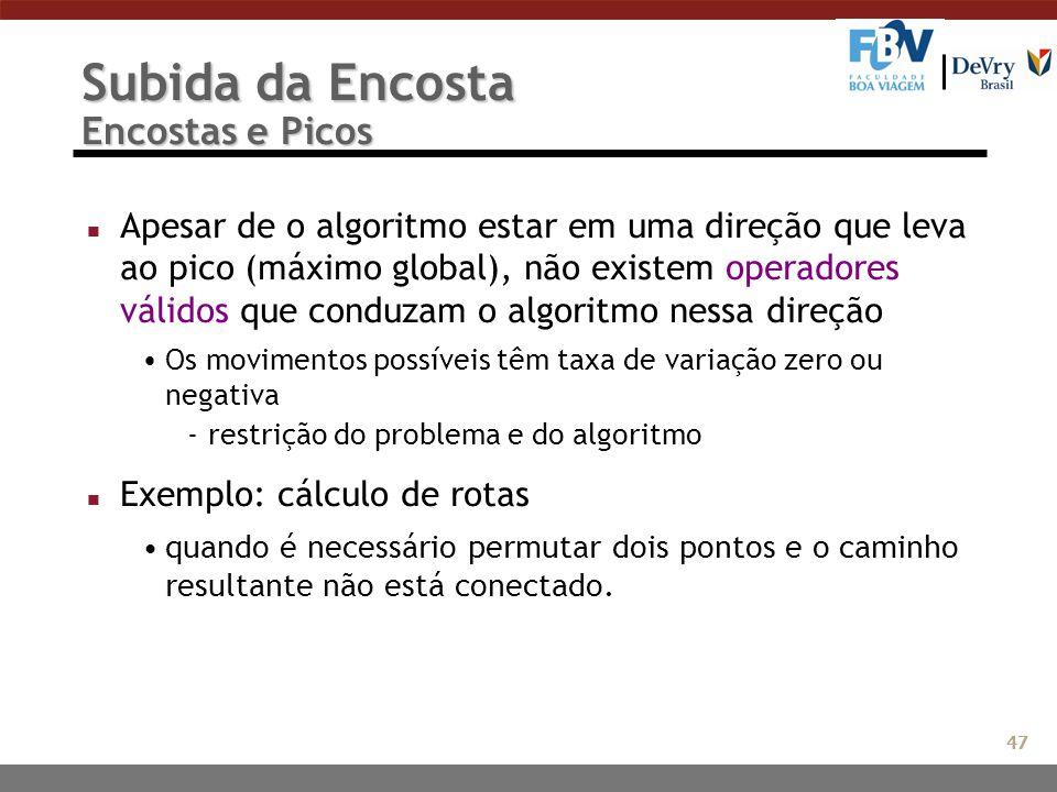 Subida da Encosta Encostas e Picos n Apesar de o algoritmo estar em uma direção que leva ao pico (máximo global), não existem operadores válidos que c
