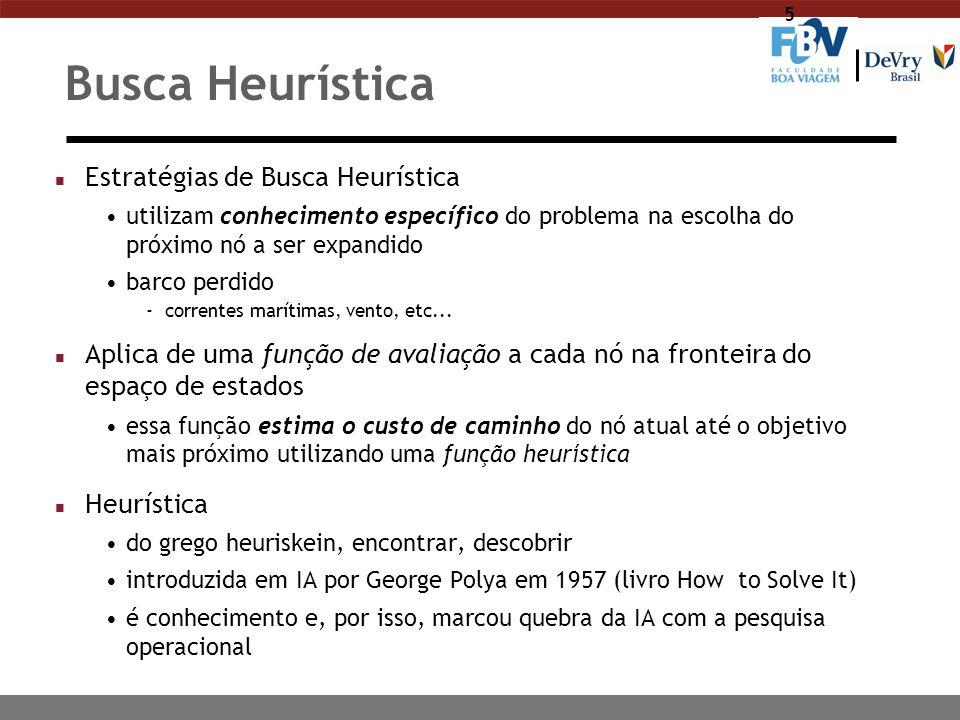 5 Busca Heurística n Estratégias de Busca Heurística utilizam conhecimento específico do problema na escolha do próximo nó a ser expandido barco perdi