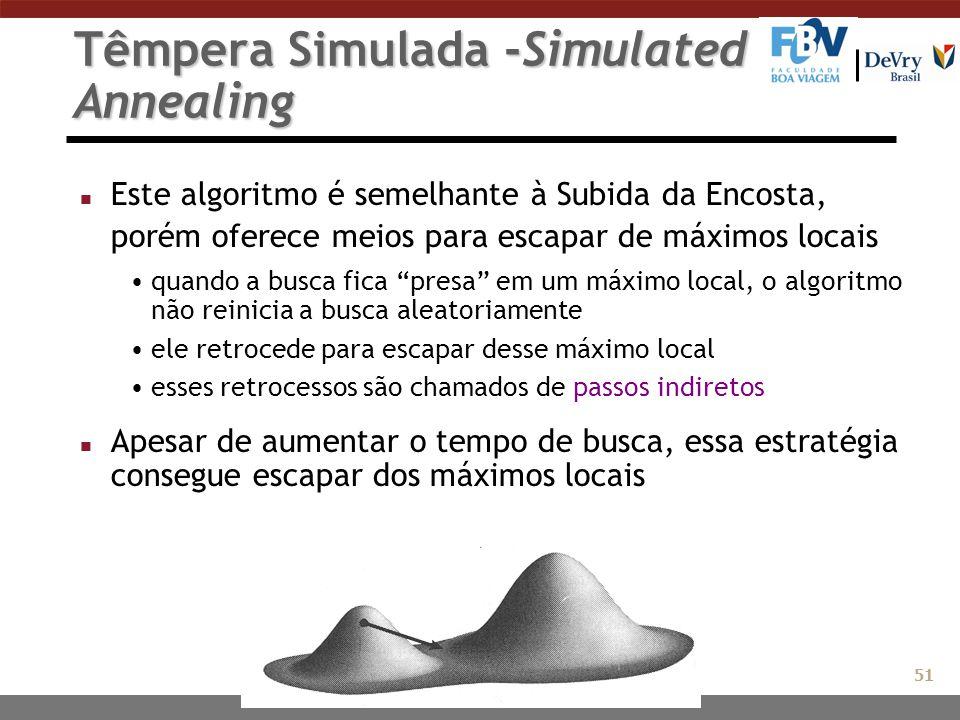 Têmpera Simulada -Simulated Annealing n Este algoritmo é semelhante à Subida da Encosta, porém oferece meios para escapar de máximos locais quando a b