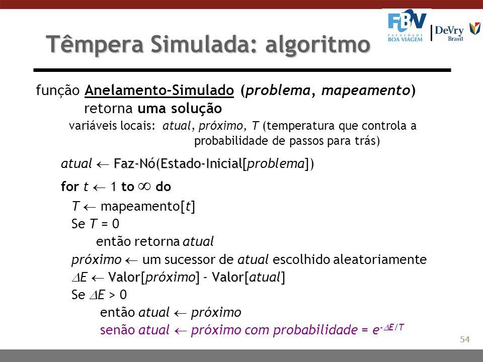 Têmpera Simulada: algoritmo função Anelamento-Simulado (problema, mapeamento) retorna uma solução variáveis locais: atual, próximo, T (temperatura que