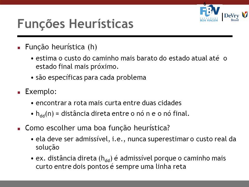 6 Funções Heurísticas n Função heurística (h) estima o custo do caminho mais barato do estado atual até o estado final mais próximo. são específicas p