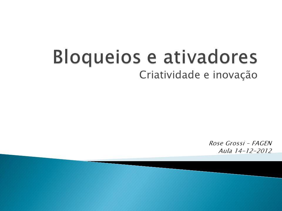 Criatividade e inovação Rose Grossi – FAGEN Aula 14-12-2012