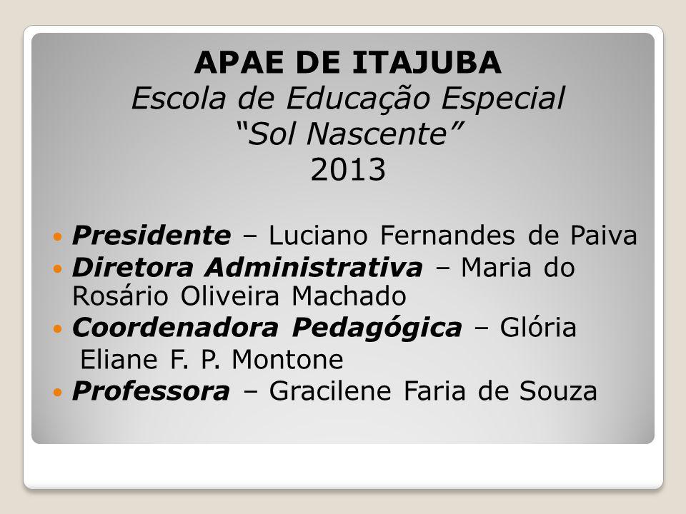 """APAE DE ITAJUBA Escola de Educação Especial """"Sol Nascente"""" 2013 Presidente – Luciano Fernandes de Paiva Diretora Administrativa – Maria do Rosário Oli"""