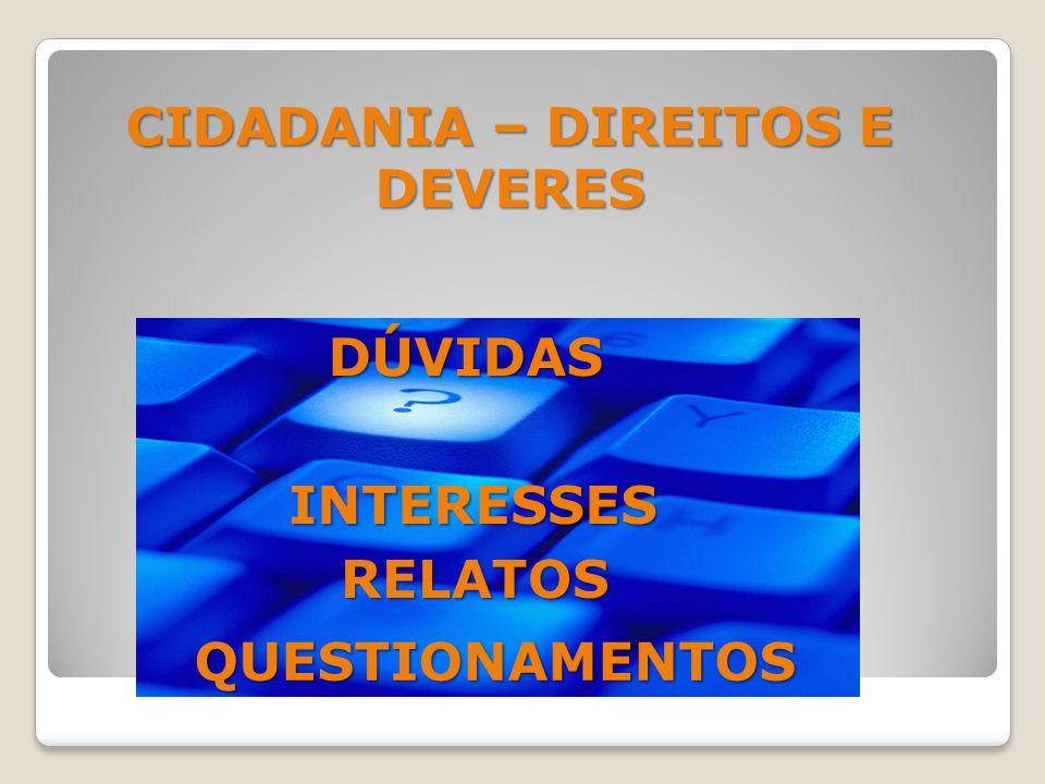 INTERESSES RELATOS QUESTIONAMENTOS DÚVIDAS CIDADANIA – DIREITOS E DEVERES