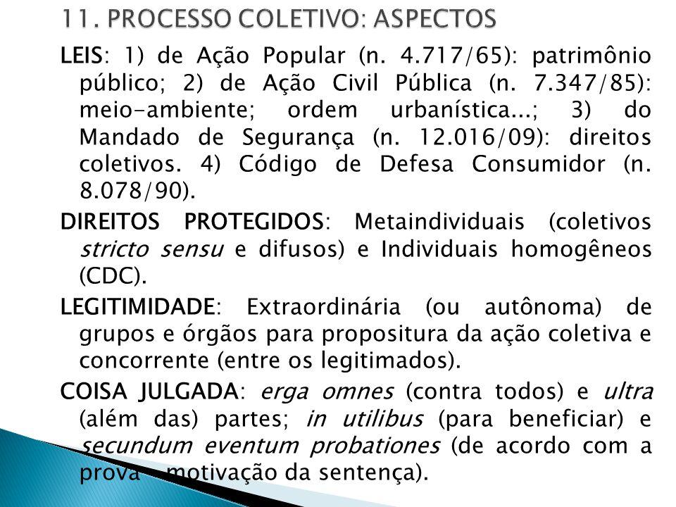 LEIS: 1) de Ação Popular (n. 4.717/65): patrimônio público; 2) de Ação Civil Pública (n. 7.347/85): meio-ambiente; ordem urbanística...; 3) do Mandado