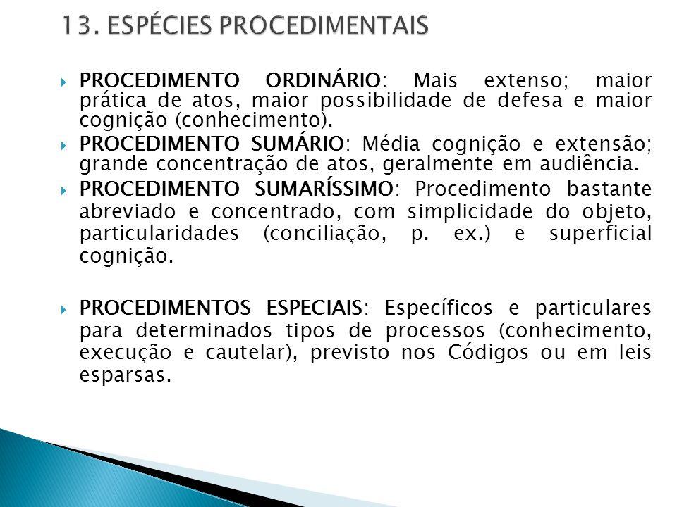  PROCEDIMENTO ORDINÁRIO: Mais extenso; maior prática de atos, maior possibilidade de defesa e maior cognição (conhecimento).  PROCEDIMENTO SUMÁRIO: