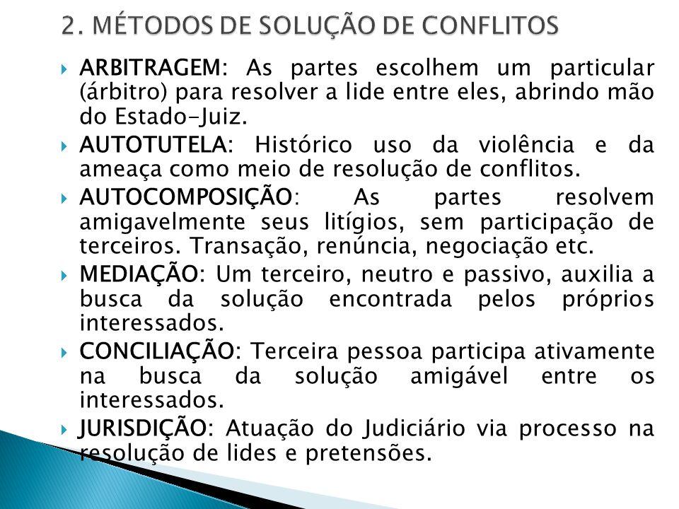  CONCEITO: Meio pelo qual o Estado-juiz (jurisdição) resolve os conflitos visando à pacificação social e à Justiça...