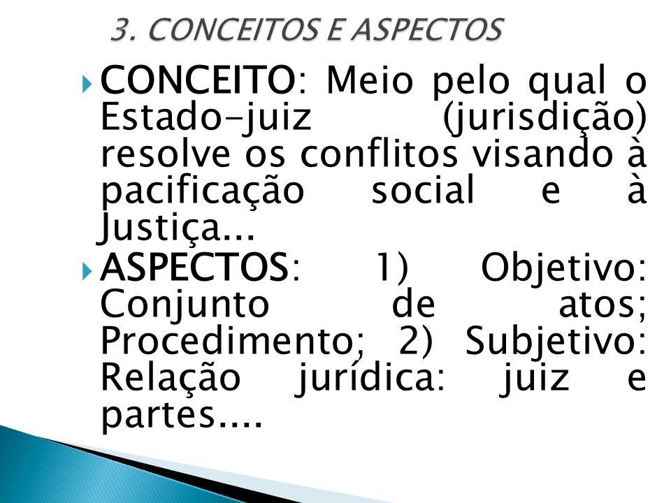  CONCEITO: Meio pelo qual o Estado-juiz (jurisdição) resolve os conflitos visando à pacificação social e à Justiça...  ASPECTOS: 1) Objetivo: Conjun
