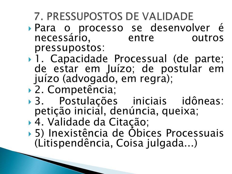  Para o processo se desenvolver é necessário, entre outros pressupostos:  1. Capacidade Processual (de parte; de estar em Juízo; de postular em juíz