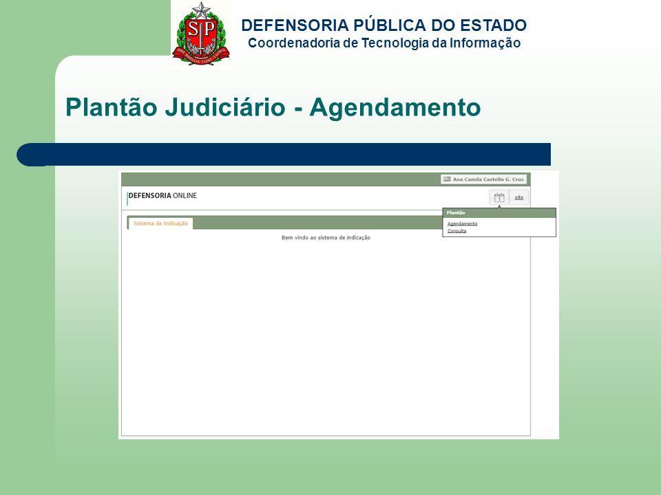 DEFENSORIA PÚBLICA DO ESTADO Coordenadoria de Tecnologia da Informação Plantão Judiciário - Agendamento