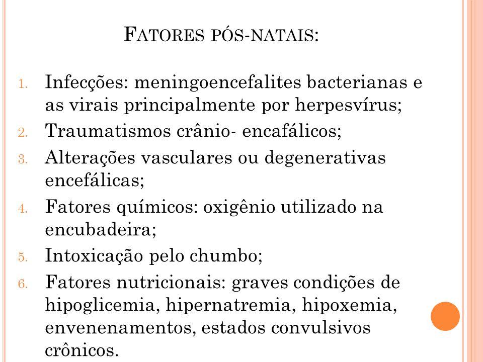 F ATORES PÓS - NATAIS : 1. Infecções: meningoencefalites bacterianas e as virais principalmente por herpesvírus; 2. Traumatismos crânio- encafálicos;