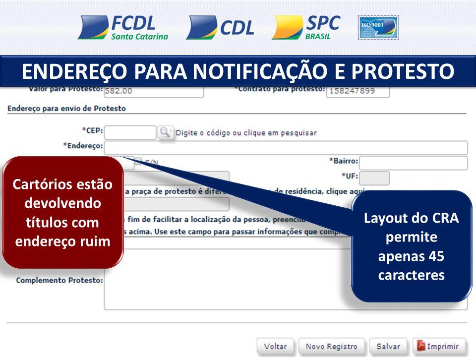 ENDEREÇO PARA NOTIFICAÇÃO E PROTESTO Layout do CRA permite apenas 45 caracteres Cartórios estão devolvendo títulos com endereço ruim