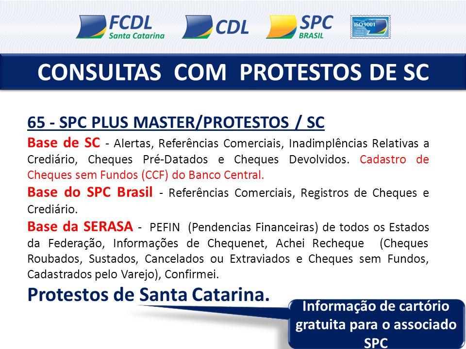 CONSULTAS COM PROTESTOS DE SC 65 - SPC PLUS MASTER/PROTESTOS / SC Base de SC - Alertas, Referências Comerciais, Inadimplências Relativas a Crediário,