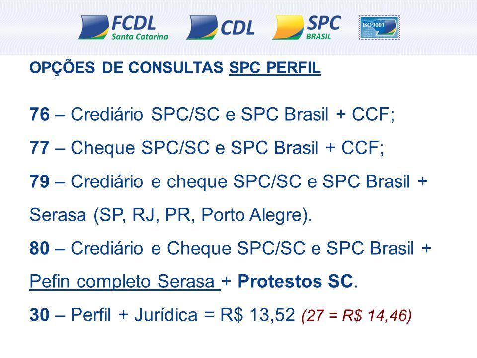 OPÇÕES DE CONSULTAS SPC PERFIL 76 – Crediário SPC/SC e SPC Brasil + CCF; 77 – Cheque SPC/SC e SPC Brasil + CCF; 79 – Crediário e cheque SPC/SC e SPC B