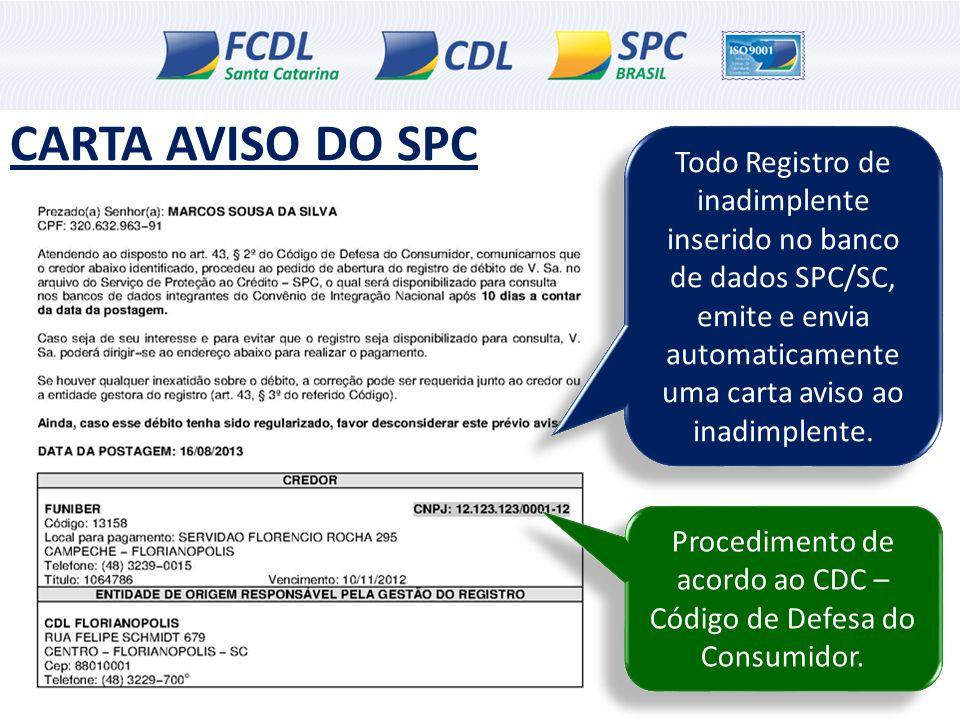 Todo Registro de inadimplente inserido no banco de dados SPC/SC, emite e envia automaticamente uma carta aviso ao inadimplente. CARTA AVISO DO SPC Pro