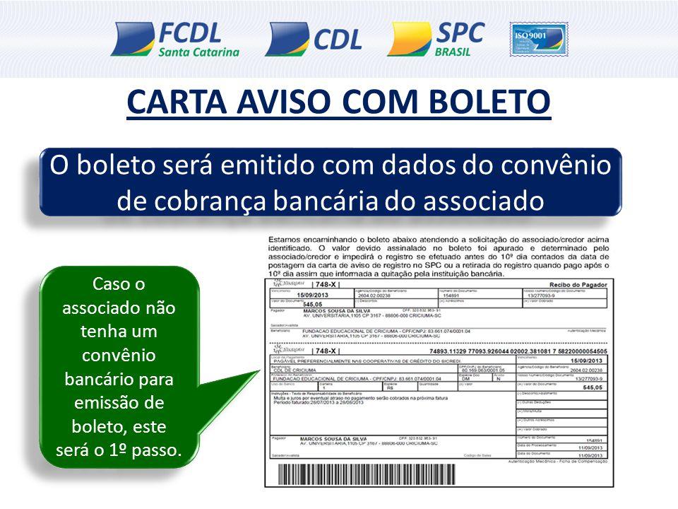 CARTA AVISO COM BOLETO O boleto será emitido com dados do convênio de cobrança bancária do associado Caso o associado não tenha um convênio bancário p