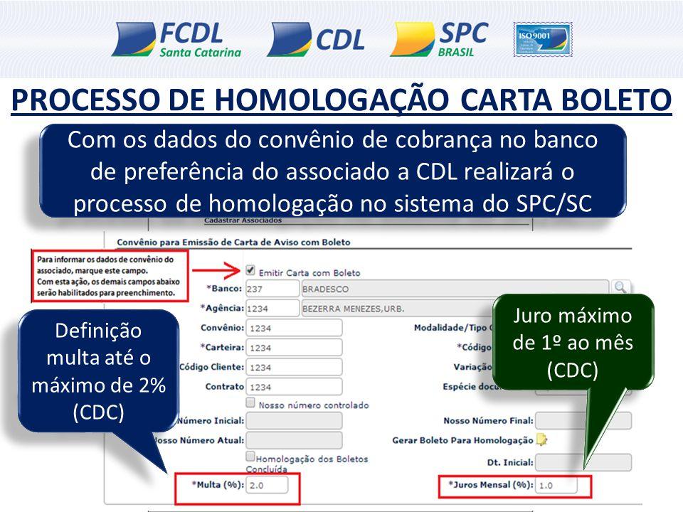 PROCESSO DE HOMOLOGAÇÃO CARTA BOLETO Com os dados do convênio de cobrança no banco de preferência do associado a CDL realizará o processo de homologaç