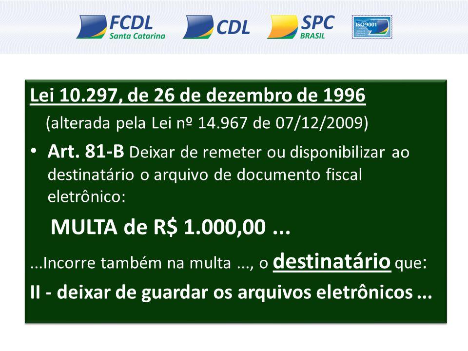 Lei 10.297, de 26 de dezembro de 1996 (alterada pela Lei nº 14.967 de 07/12/2009) Art. 81-B Deixar de remeter ou disponibilizar ao destinatário o arqu