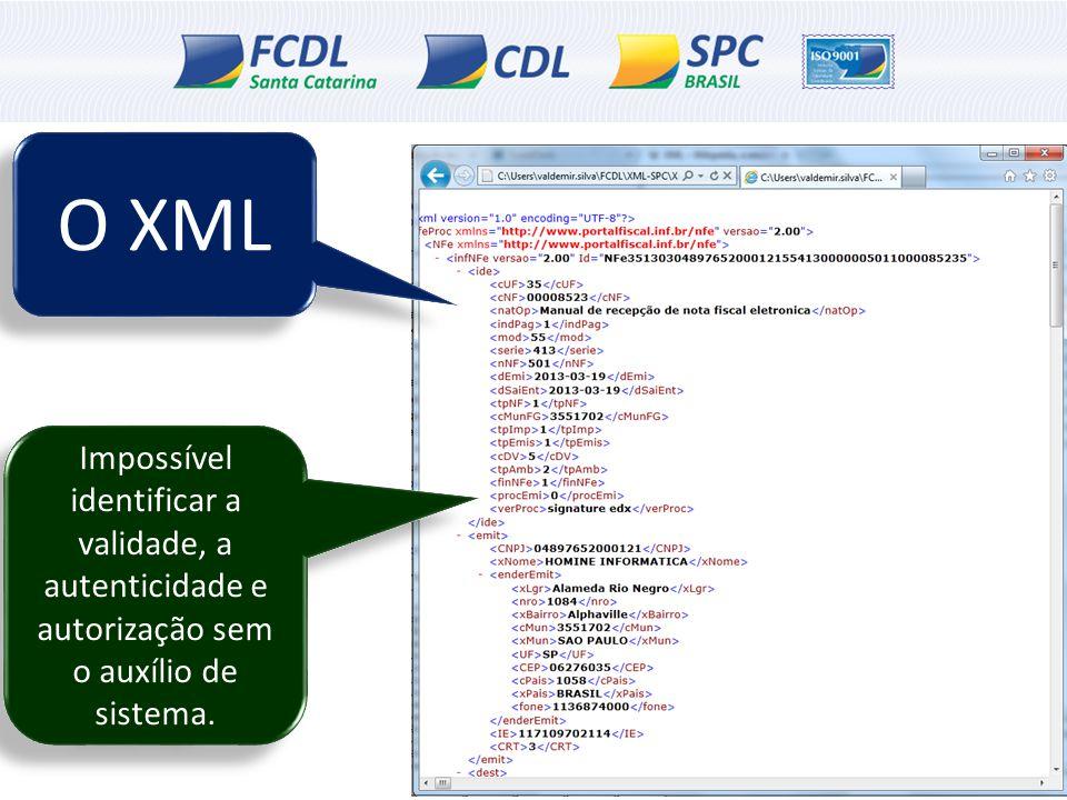 O XML Impossível identificar a validade, a autenticidade e autorização sem o auxílio de sistema.