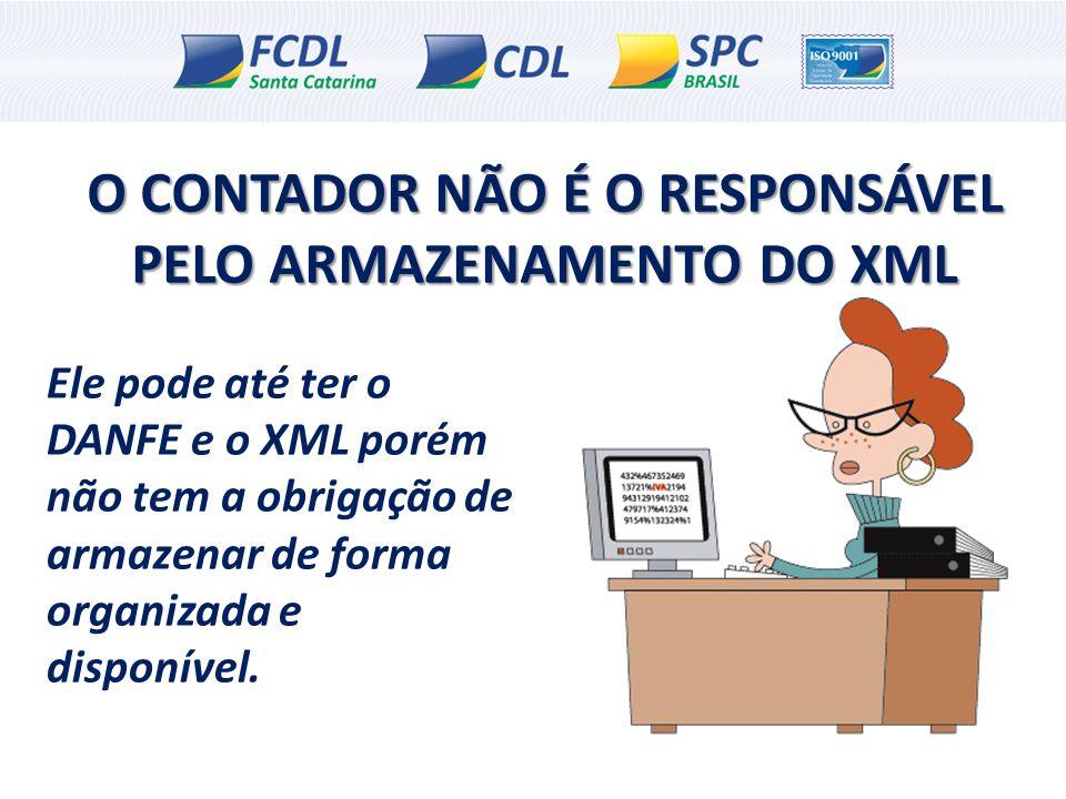 O CONTADOR NÃO É O RESPONSÁVEL PELO ARMAZENAMENTO DO XML Ele pode até ter o DANFE e o XML porém não tem a obrigação de armazenar de forma organizada e