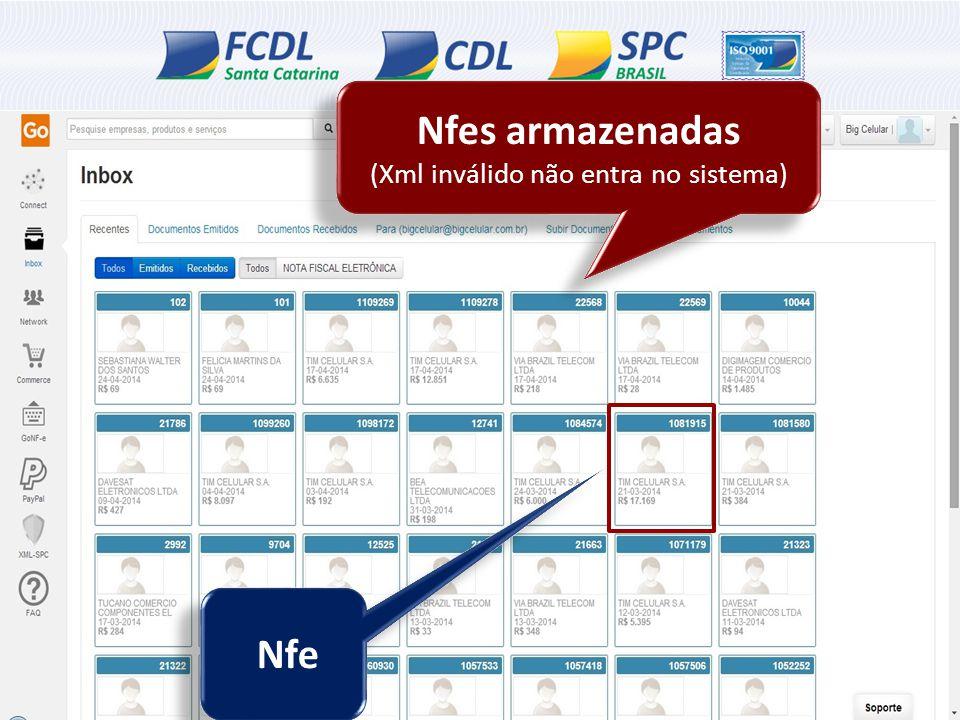 Nfe Nfes armazenadas (Xml inválido não entra no sistema) Nfes armazenadas (Xml inválido não entra no sistema)