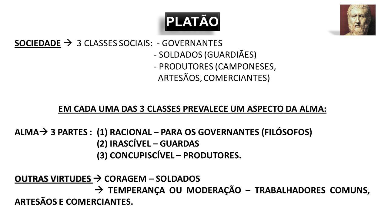 EM CADA UMA DAS 3 CLASSES PREVALECE UM ASPECTO DA ALMA: ALMA  3 PARTES : (1) RACIONAL – PARA OS GOVERNANTES (FILÓSOFOS) (2) IRASCÍVEL – GUARDAS (3) C