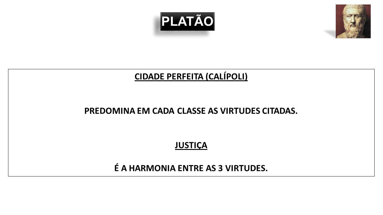 PLATÃO CIDADE PERFEITA (CALÍPOLI) PREDOMINA EM CADA CLASSE AS VIRTUDES CITADAS. JUSTIÇA É A HARMONIA ENTRE AS 3 VIRTUDES.