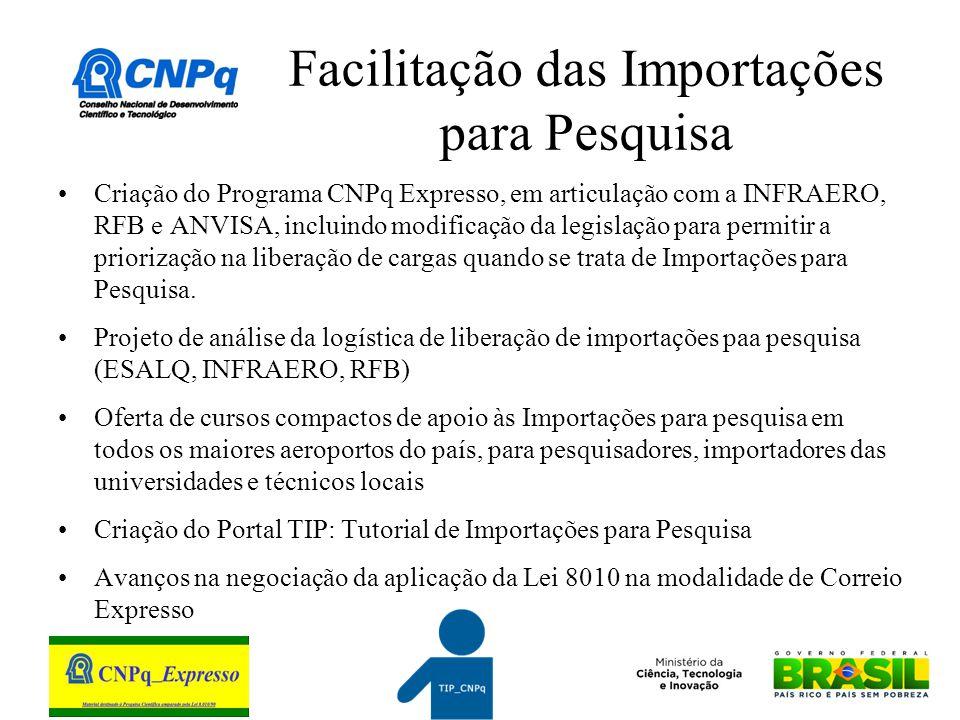 Facilitação das Importações para Pesquisa Criação do Programa CNPq Expresso, em articulação com a INFRAERO, RFB e ANVISA, incluindo modificação da legislação para permitir a priorização na liberação de cargas quando se trata de Importações para Pesquisa.