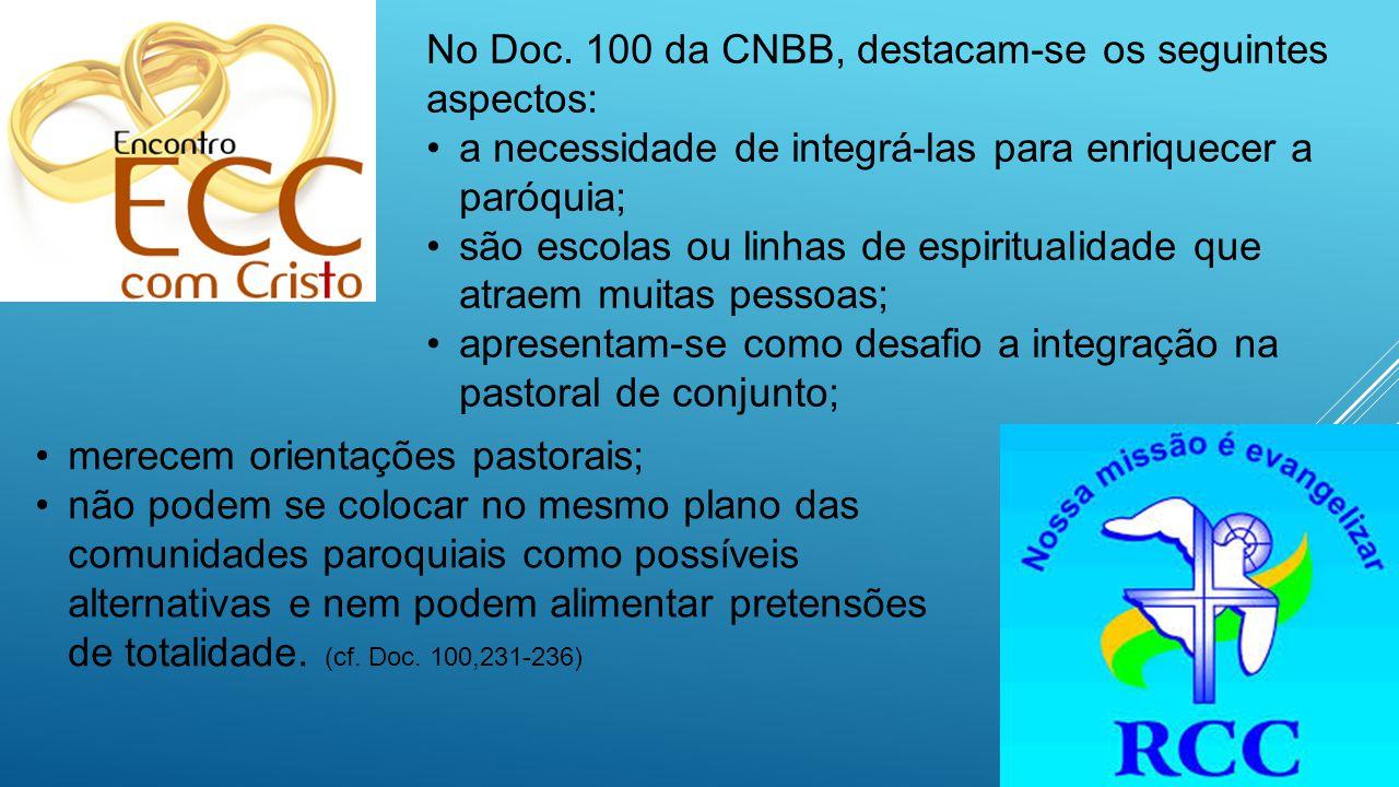 No Doc. 100 da CNBB, destacam-se os seguintes aspectos: a necessidade de integrá-las para enriquecer a paróquia; são escolas ou linhas de espiritualid
