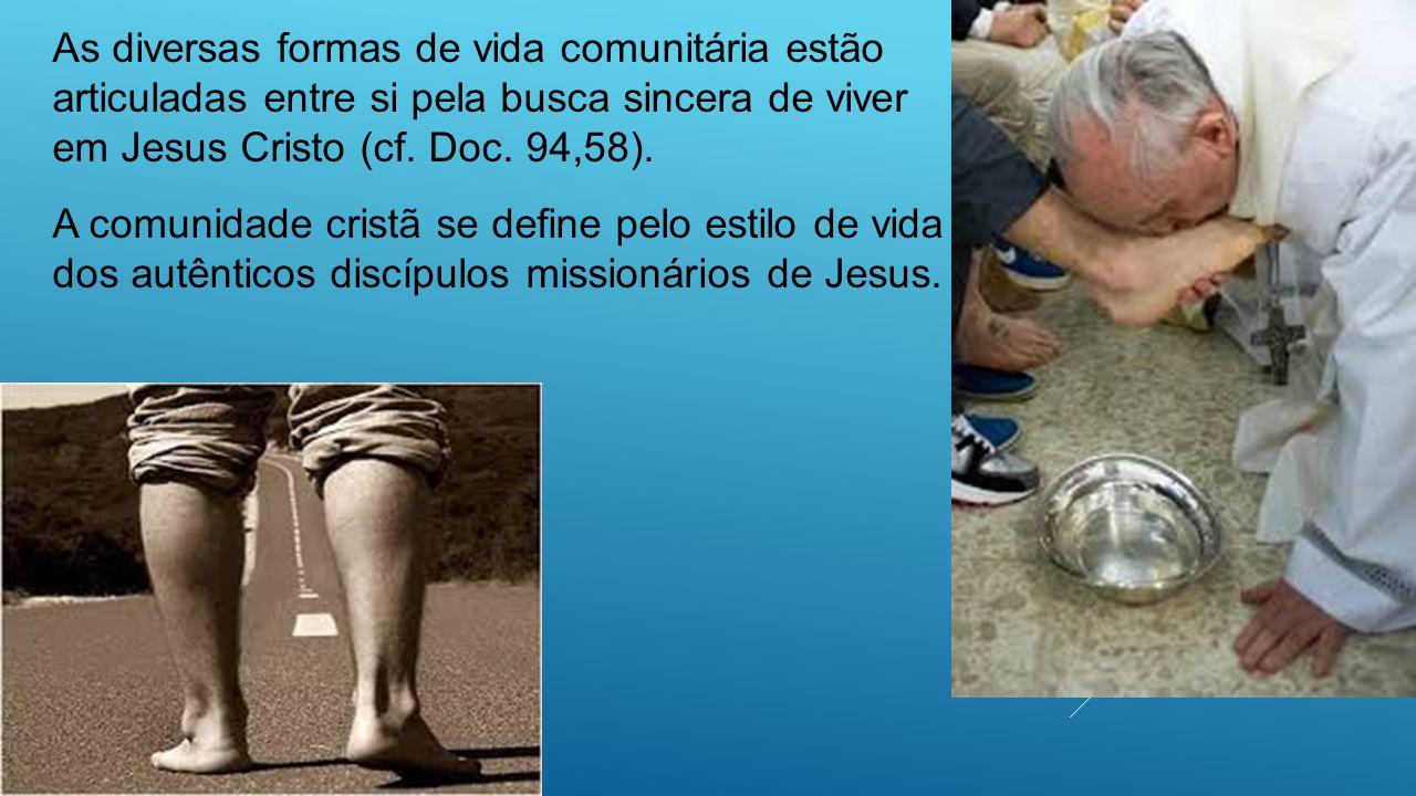 As diversas formas de vida comunitária estão articuladas entre si pela busca sincera de viver em Jesus Cristo (cf. Doc. 94,58). A comunidade cristã se