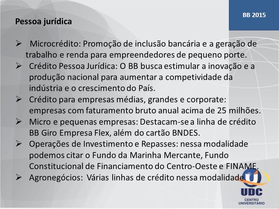 Pessoa jurídica  Microcrédito: Promoção de inclusão bancária e a geração de trabalho e renda para empreendedores de pequeno porte.  Crédito Pessoa J