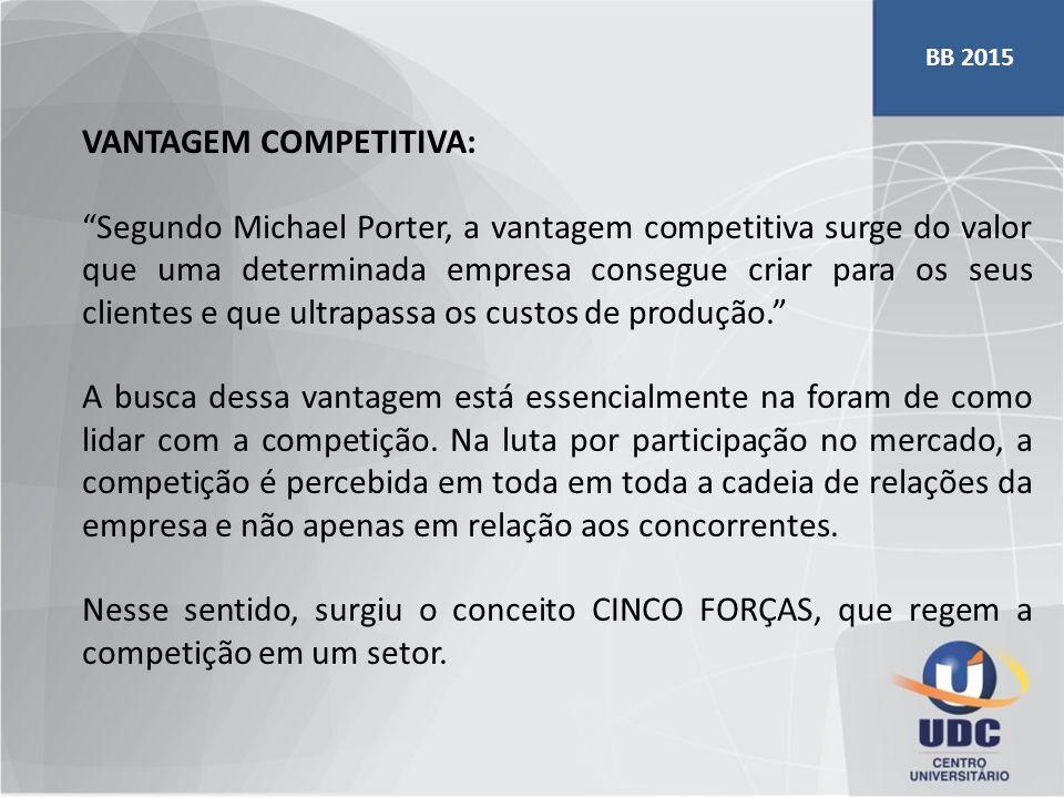 """VANTAGEM COMPETITIVA: """"Segundo Michael Porter, a vantagem competitiva surge do valor que uma determinada empresa consegue criar para os seus clientes"""